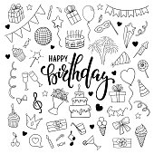 big set of hand drawn doodle cartoon objects and symbols on the birthday party. Hand drawn brush pen lettering Happy birthday. design for holiday greeting card and invitation of baby shower, birthday,