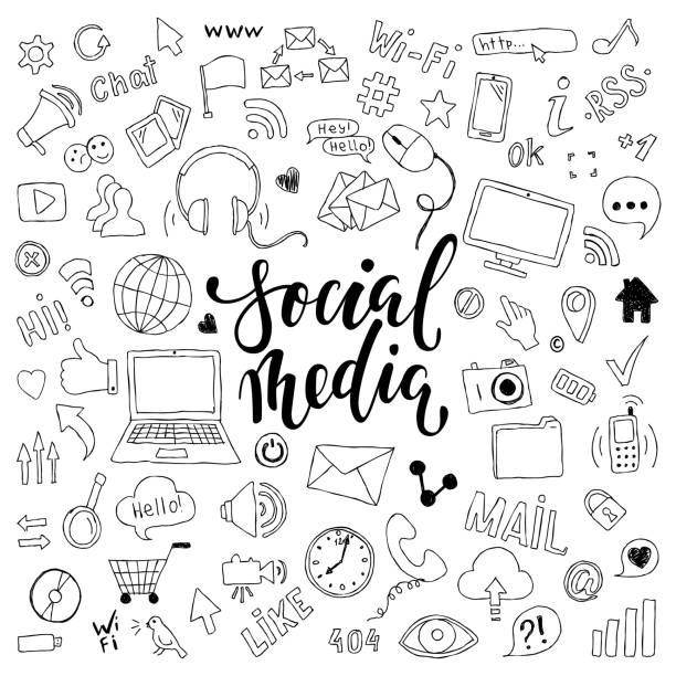 big set of hand drawn doodle cartoon objects and symbols with lettering. on the Social Media theme big set of hand drawn doodle cartoon objects and symbols with lettering. on the Social Media theme. following moving activity stock illustrations