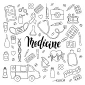 big set of hand drawn doodle medicine with lettering. Hand drawn calligraphy and brush pen lettering phrase medicine.