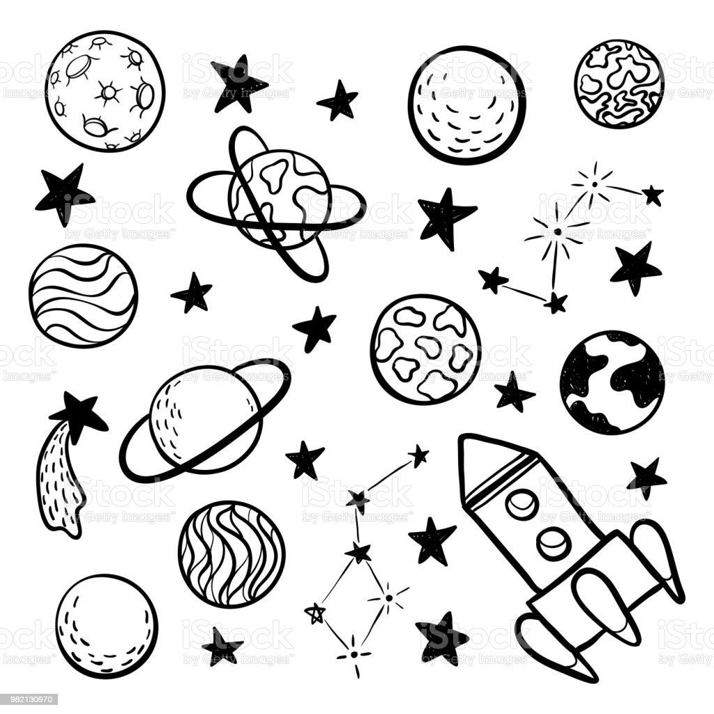 Big set of hand drawn doodle space elements space rocket