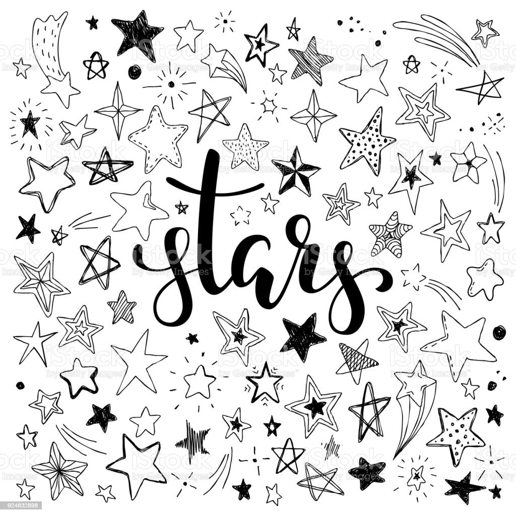 big set of hand drawn doodle stars black and white isolated on background. Hand drawn calligraphy stars lettering.