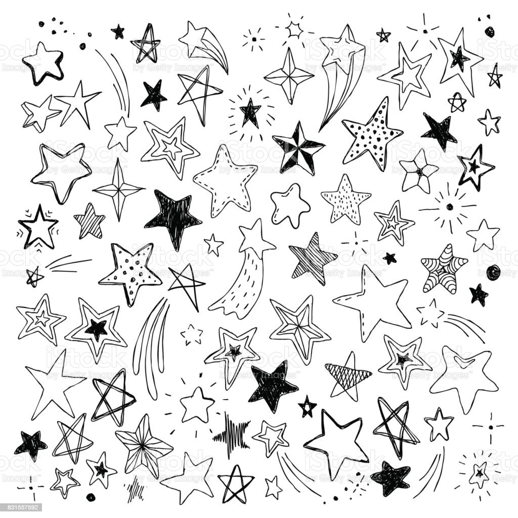 big set of hand drawn doodle stars black and white isolated on background vector art illustration