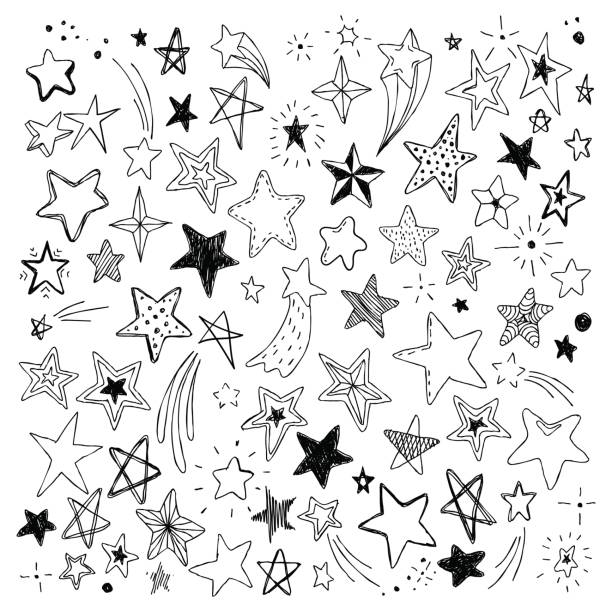 big set of hand drawn doodle stars black and white isolated on background - doodles and hand drawn stock illustrations