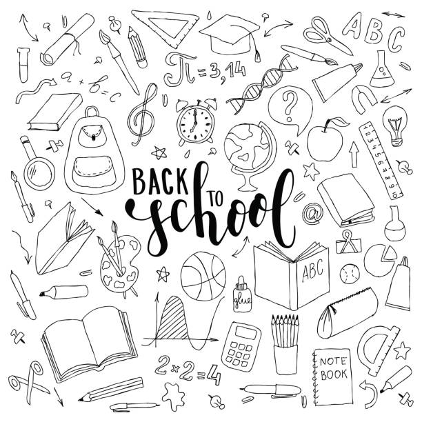 big set of hand drawn doodle welcome back to school with lettering. Hand drawn calligraphy and brush pen lettering phrase back to school vector art illustration