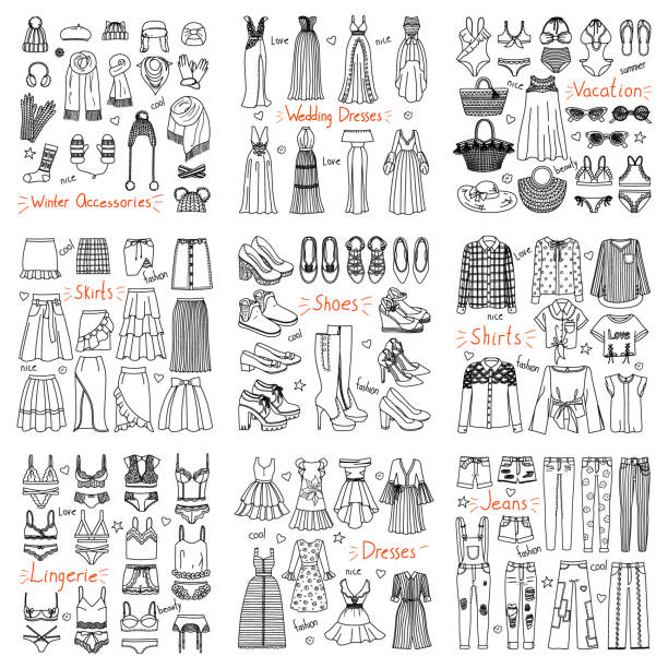 ilustraciones, imágenes clip art, dibujos animados e iconos de stock de gran conjunto de ropa de moda hechos a mano y accesorios - moda de otoño
