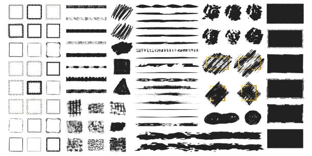 big set of hand drawn grunge torn frames, box shapes. vector isolated background. distressed brush strokes, blots, borders and rough dividers. - grunge frames stock illustrations
