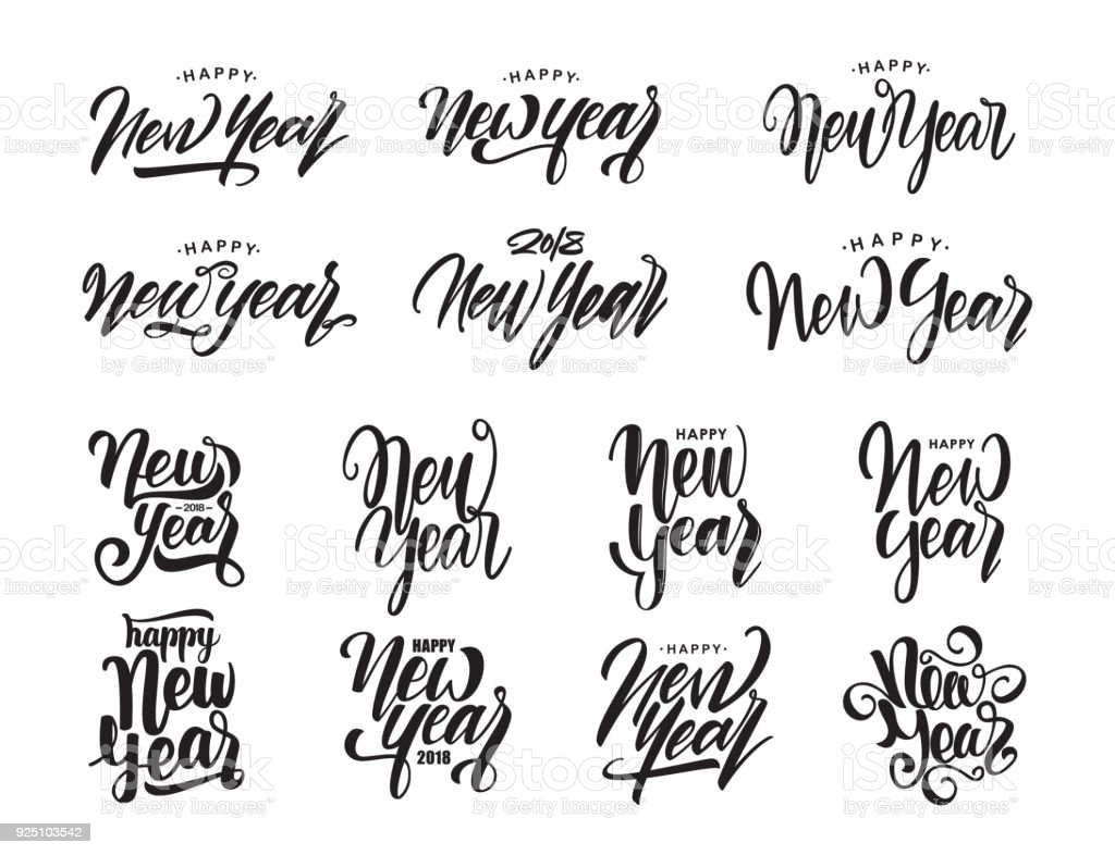 Big Set Of Hand Drawn Modern Type Lettering Happy New Year Typography Design Royalty