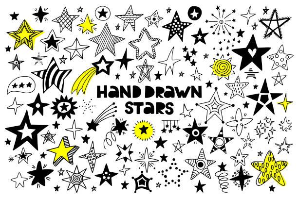 duży zestaw ręcznie rysowanych gwiazd na białym tle. - bazgroły rysunek stock illustrations
