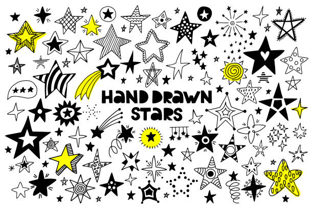 big set of hand drawn stars on a white background. - kształt gwiazdy stock illustrations