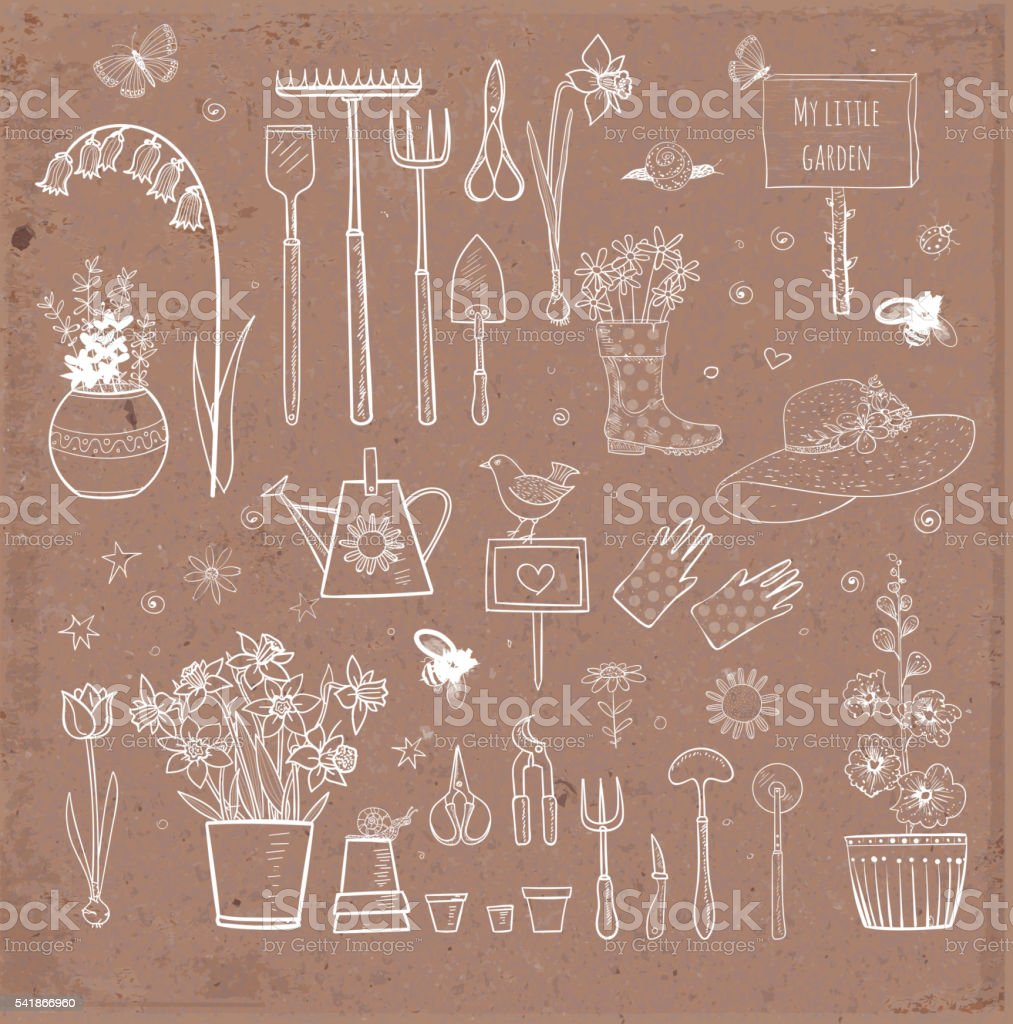 Big set of hand-drawn sketch garden elements vector art illustration