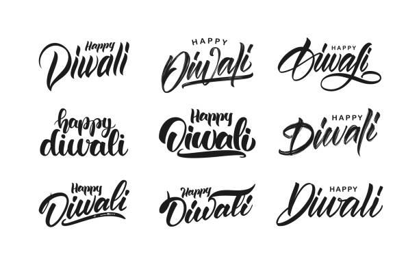 big set of handwritten lettering type composition of happy diwali. vector illustration. - diwali stock illustrations