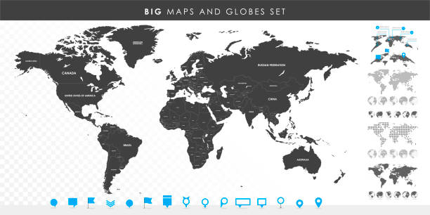 Big set of High Detailed Maps and Globes. Pins collection. Different effects. World Map and infograpchic elements. Political countries World Map. Vector illustration Big set of High Detailed Maps and Globes. Pins collection. Different effects. World Map and infograpchic elements. Political countries World Map. Vector illustration. continent geographic area stock illustrations