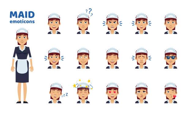 big set of housemaid emoticons - kiss stock illustrations