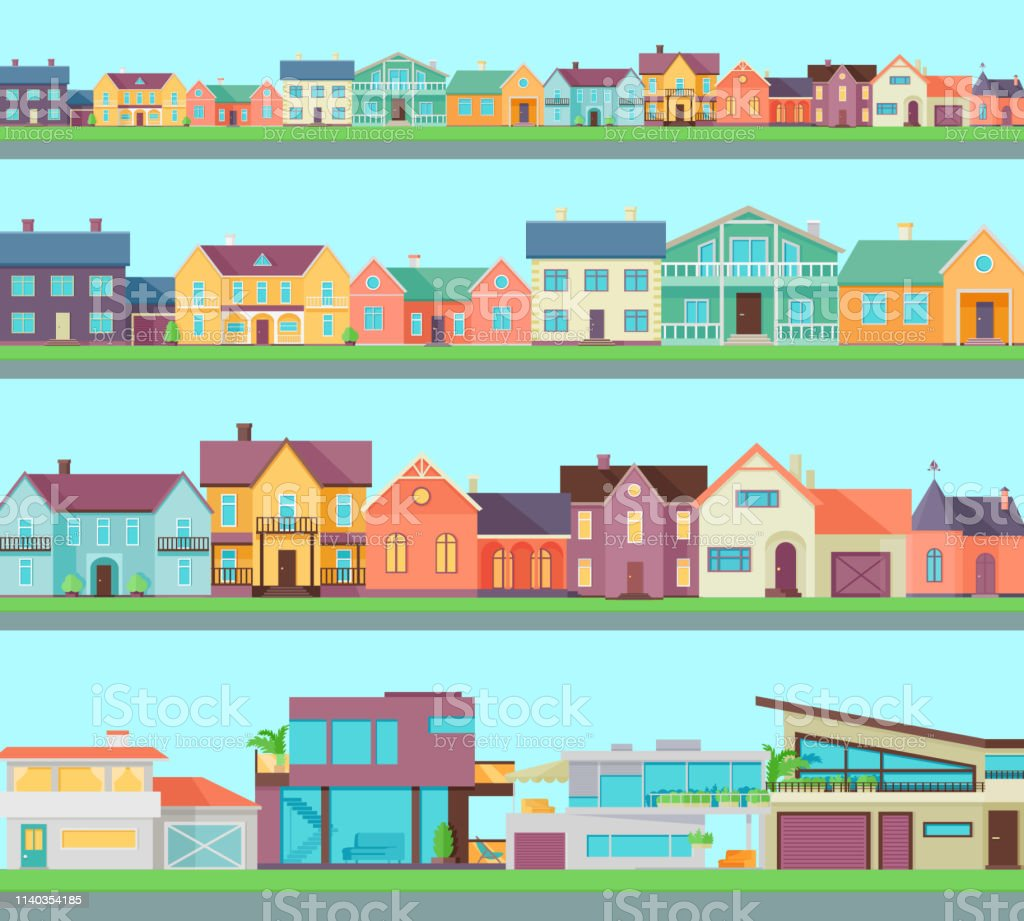 Big set of houses, buildings, architecture variations. Cottage and...