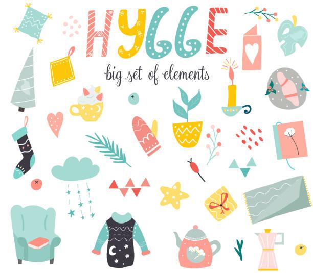 ilustrações de stock, clip art, desenhos animados e ícones de big set of hygge elements in scandinavian style - hygge
