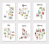 Big set of illustrated maps of of Europe with cute and fun hand drawn characters, plants and elements. Color vector illustration