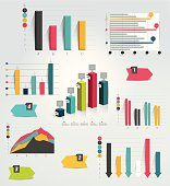 Big set of infographic charts. Vector.