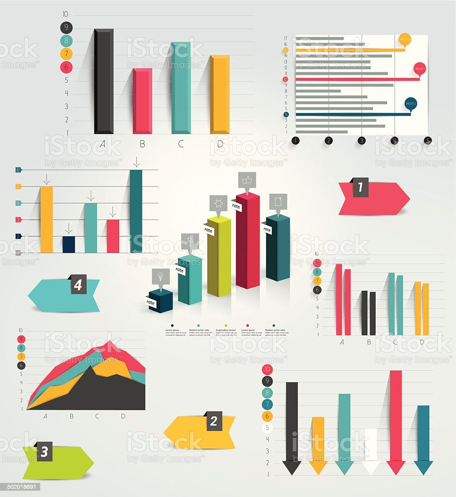 Big set of infographic charts. Vector. vector art illustration
