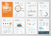 Big set of infographic elements in modern flat business style. Vector illustrations of modern info graphics. Use in website, flyer, corporate report, presentation, advertising, marketing etc.