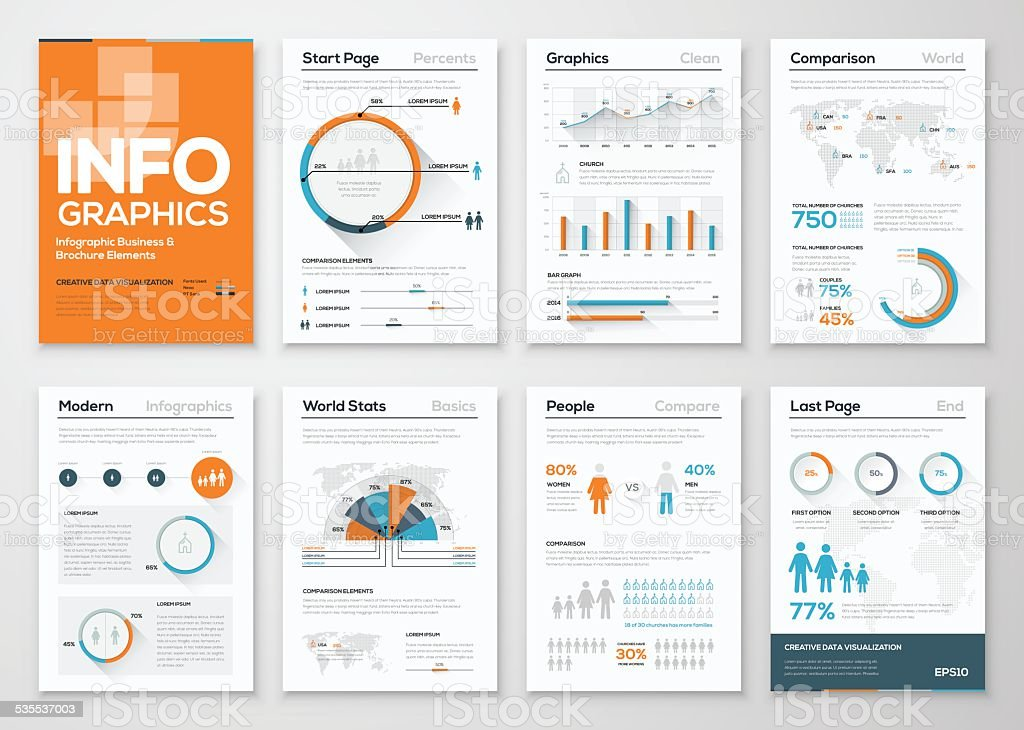 Big set of infographic elements in modern flat business style vector art illustration