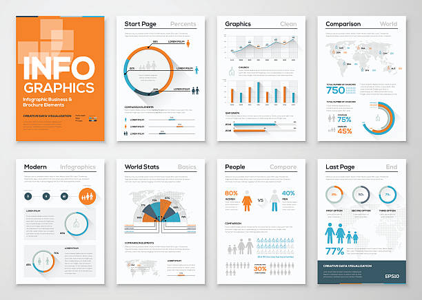 big set of infographic elements in modern flat business style - demographics infographics stock illustrations, clip art, cartoons, & icons