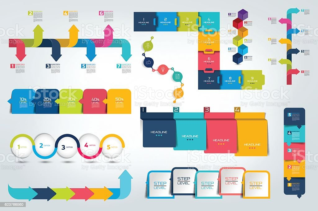 Grandes Conjunto de infografía plazos informe, plantilla, gráfico, diagrama. Vector de. - ilustración de arte vectorial