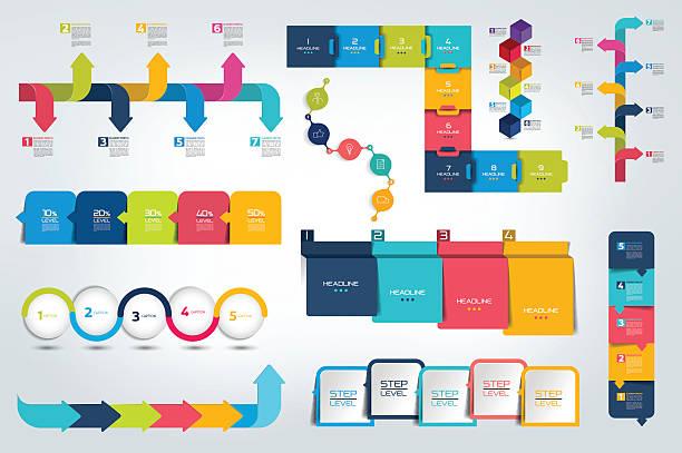 groß ein satz von infografik zeitleiste bericht vorlage, flipchart, gestaltet. vektor. - flowchart infografiken stock-grafiken, -clipart, -cartoons und -symbole