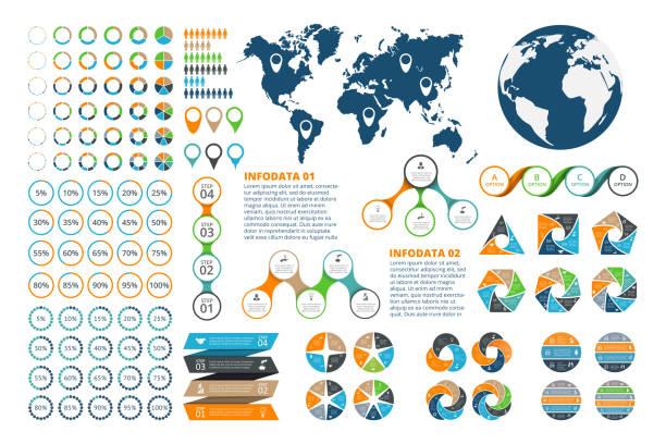 illustrations, cliparts, dessins animés et icônes de grand ensemble d'infographie éléments. - infographie de démographie