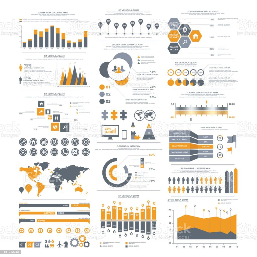 Big set of infographics elements. Vector Illustration for business presentation, booklet, website etc. vector art illustration