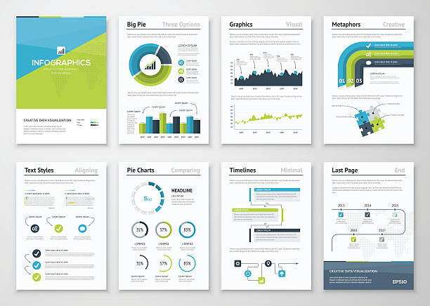 große reihe von infografiken geschäft vektor-elemente und broschüren - zeitschrift grafiken stock-grafiken, -clipart, -cartoons und -symbole