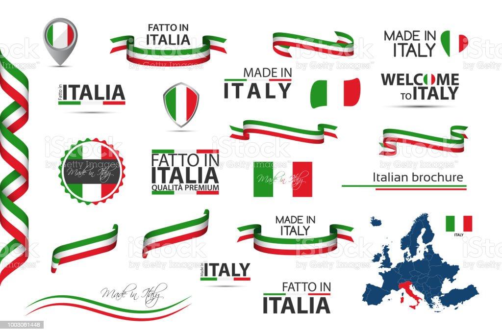 Grand ensemble de rubans italiennes, des symboles, des icônes et des drapeaux isolé sur fond blanc, fait en Italie, Bienvenue en Italie, première qualité, drapeau tricolore italien, pour vos modèles et infographie grand ensemble de rubans italiennes des symboles des icônes et des drapeaux isolé sur fond blanc fait en italie bienvenue en italie première qualité drapeau tricolore italien pour vos modèles et infographie vecteurs libres de droits et plus d'images vectorielles de abstrait libre de droits