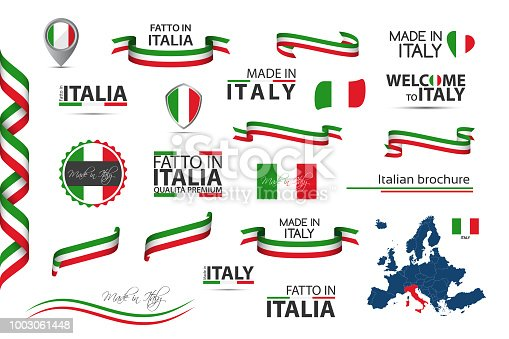 Big set of Italian ribbons, symbols, icons and flags isolated on a white background, Made in Italy, Welcome to Italy, premium quality, Italian tricolor, set for your infographics and templates