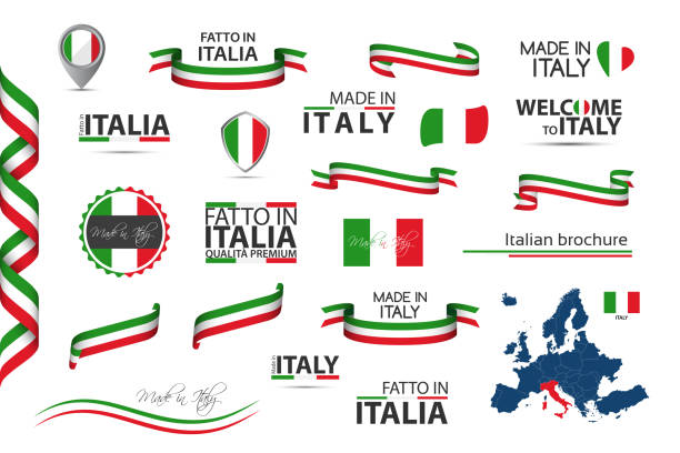 big set of italian ribbons, symbols, icons and flags isolated on a white background, made in italy, welcome to italy, premium quality, italian tricolor, set for your infographics and templates - wykonać stock illustrations