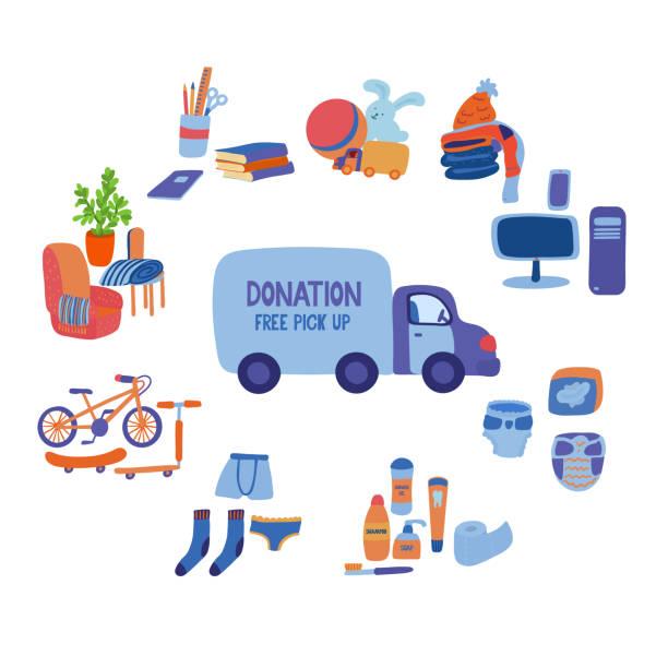 ilustraciones, imágenes clip art, dibujos animados e iconos de stock de gran conjunto de artículos que puedes donar. - social media