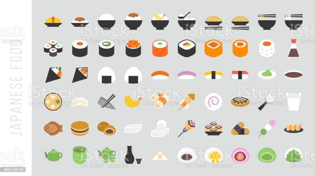 Big set of japanese food and beverage flat icon