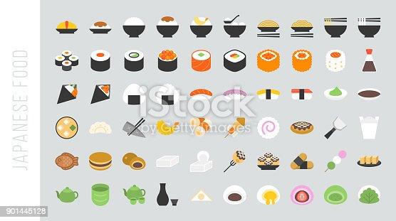 Big set of japanese food and beverage flat icon sushi, yakisoba, takoyaki, onigiri, green tea, sake, dorayaki, mochi, rice ball, miso soup, tofu, oden, dango, taiyaki, tempura, ramen, rice bowl, gyoza