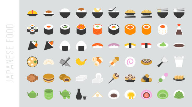 big set of japanese food and beverage flat icon - japanese food stock illustrations