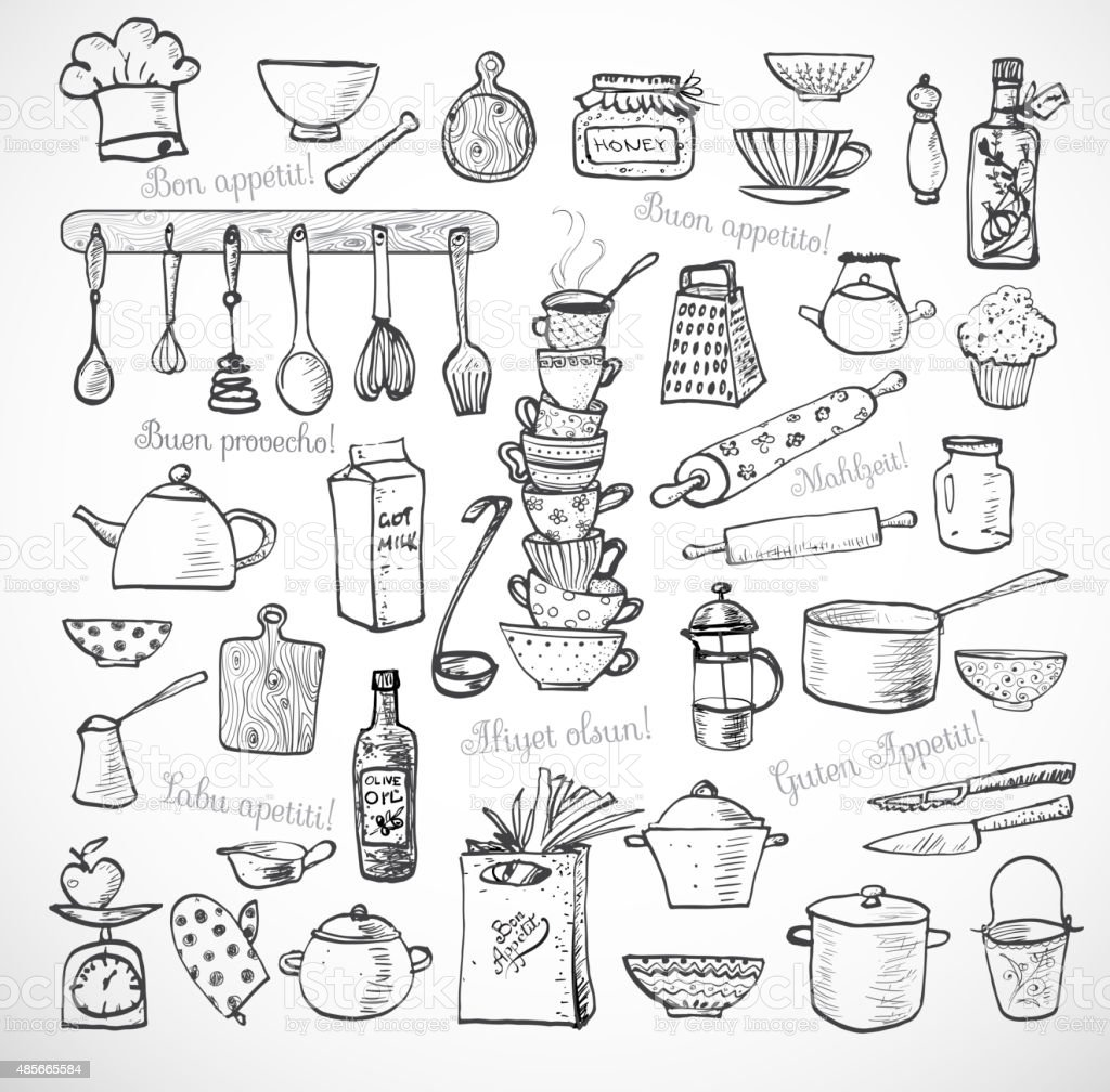 Gran juego de utensilios de cocina de dibujo en blanco for Utensilios de cocina nombres e imagenes