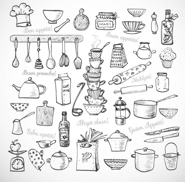 Big set of kitchen sketch utensils on white Big set of kitchen sketch utensils hand-drawn with ink on white background.  Cups, teapots, pots. bottles. chopping boards ets.  Contains inscription Bon appetit in different languages. kitchen utensil stock illustrations