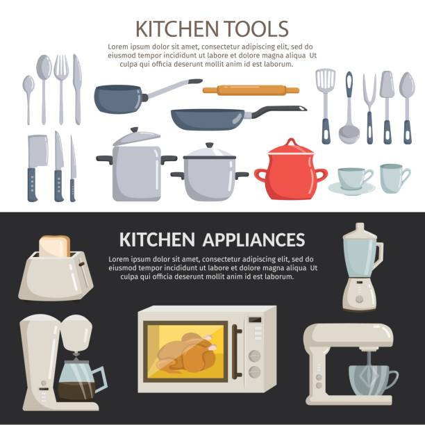 bildbanksillustrationer, clip art samt tecknat material och ikoner med stor uppsättning kök verktyg vector element tecknad horisontella banners - frying pan