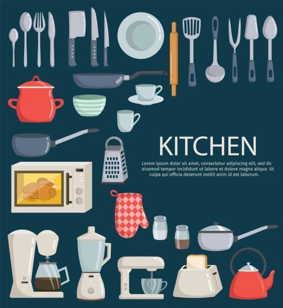 bildbanksillustrationer, clip art samt tecknat material och ikoner med stor uppsättning kök verktyg vector element tecknad - frying pan