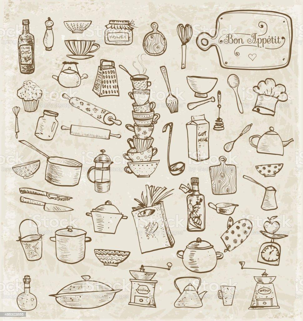 Gran Juego De Utensilios De Cocina Vintage Boceto - Arte vectorial ...