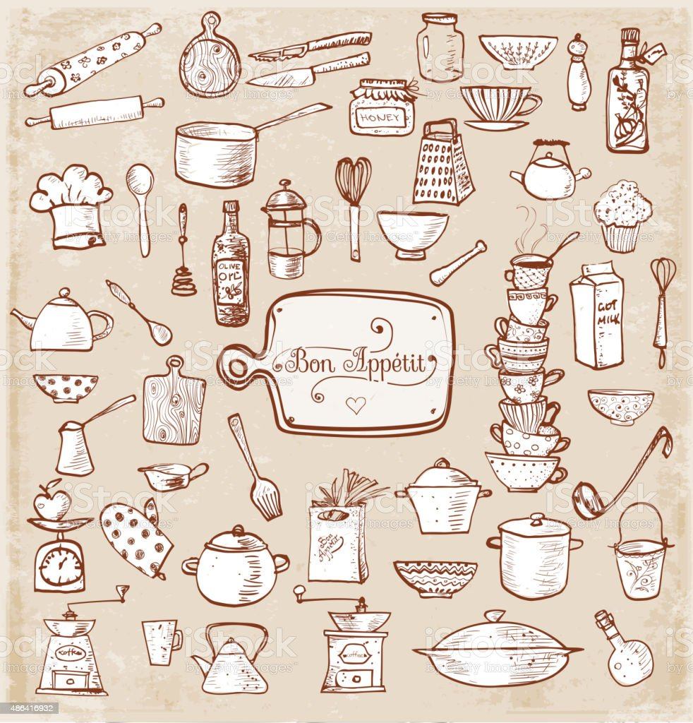 Big set of kitchen vintage sketch utensils stock vector - Utensilios de chef ...
