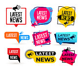 Big Set of Latest news megaphone label. Vector illustration. Isolated on white background.