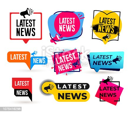 Big Set of Latest news megaphone label. Vector illustration. Isolated on white background.
