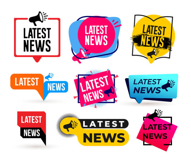 illustrazioni stock, clip art, cartoni animati e icone di tendenza di big set of latest news megaphone label. vector illustration. isolated on white background. - newspaper paper