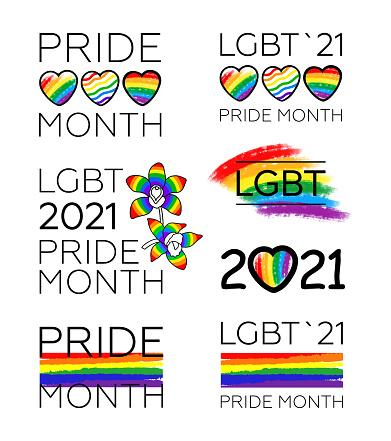 big Set of LGBT Pride Month 2021.