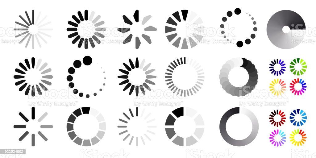Big set of loading icons. Black and white selection. Vector illustration. Isolated on white background