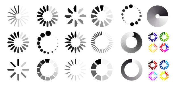 Big set of loading icons. Black and white selection. Vector illustration. Isolated on white background Big set of loading icons. Black and white selection. Vector illustration. Isolated on white background loading stock illustrations