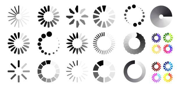 一大組載入圖示。黑白選擇。向量插圖。在白色背景上被隔離 - 進展 幅插畫檔、美工圖案、卡通及圖標